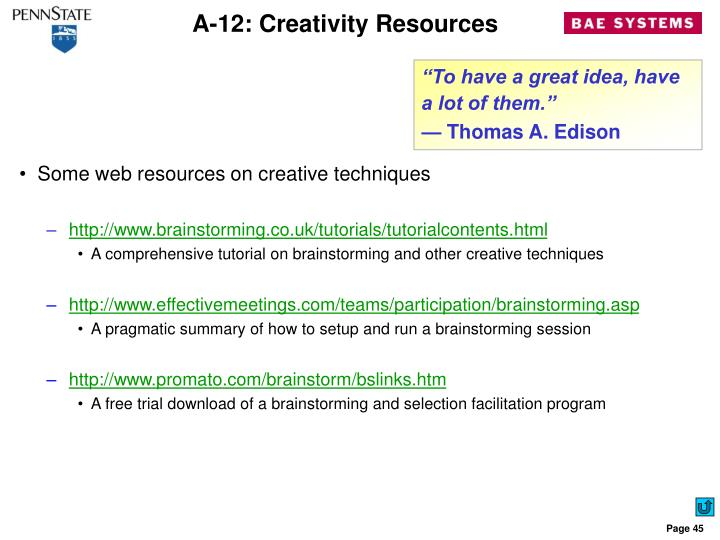 A-12: Creativity Resources