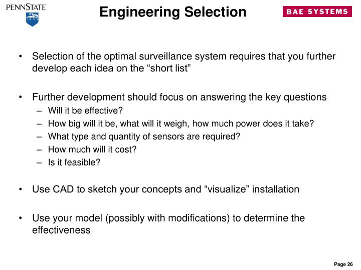 Engineering Selection