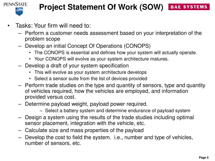 Project Statement Of Work (SOW)