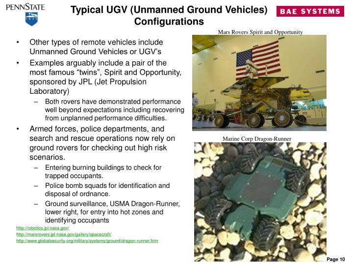 Typical UGV (Unmanned Ground Vehicles) Configurations