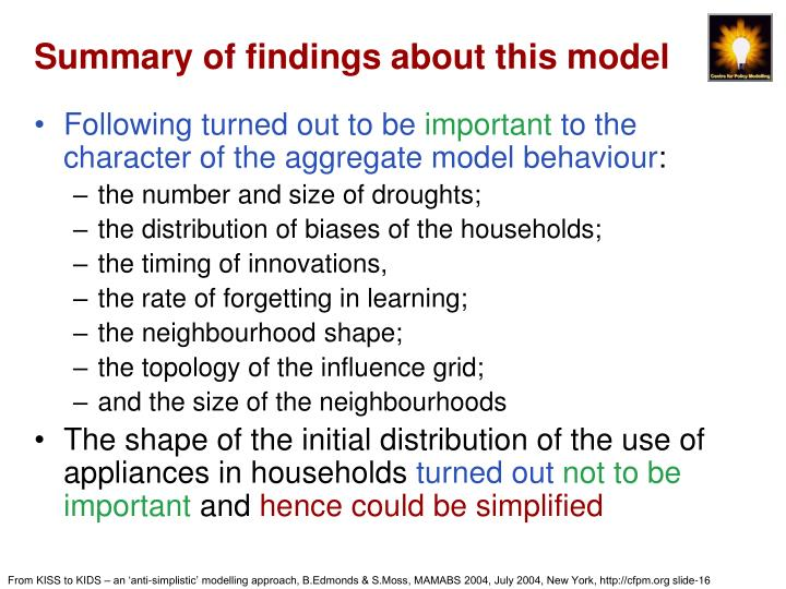 Summary of findings about this model