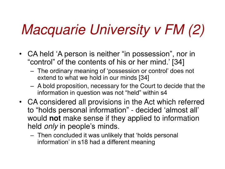 Macquarie University v FM (2)
