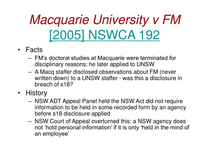Macquarie University v FM