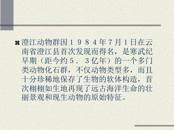 澄江动物群因1984年7月1日在云南省澄江县首次发现而得名,是寒武纪早期(距今约5.3亿年)的一个多门类动物化石群,不仅动物类型多,而且十分珍稀地保存了生物的软体构造,首次栩栩如生地再现了远古海洋生命的壮丽景观和现生动物的原始特征。