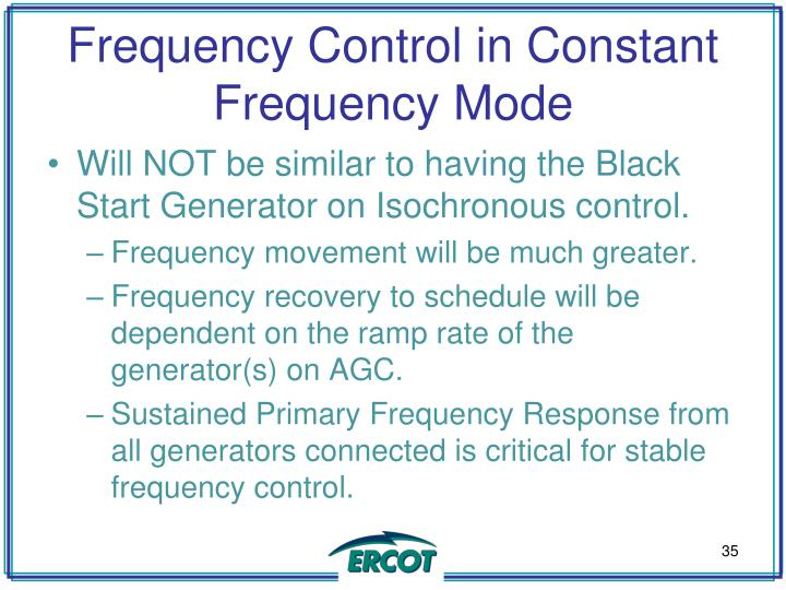 Frequency Control in Constant Frequency Mode