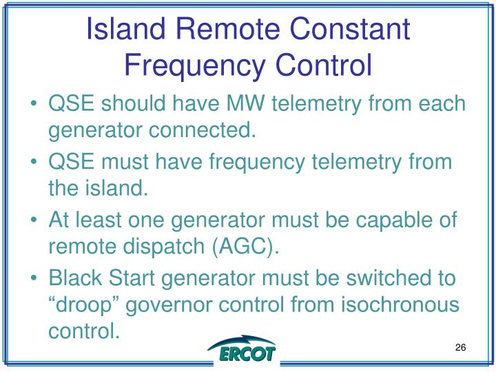 Island Remote Constant Frequency Control