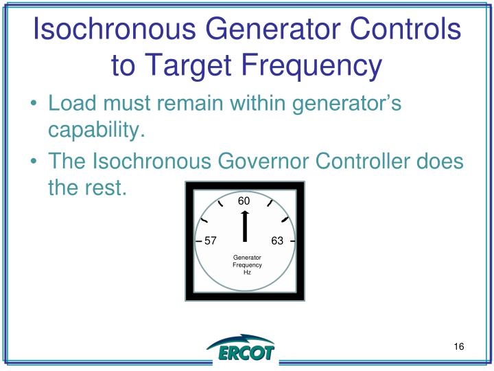 Isochronous Generator Controls to Target Frequency