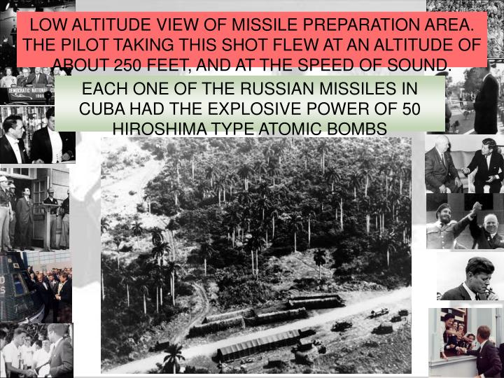LOW ALTITUDE VIEW OF MISSILE PREPARATION AREA. THE PILOT TAKING THIS SHOT FLEW AT AN ALTITUDE OF ABOUT 250 FEET, AND AT THE SPEED OF SOUND.