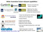 wider australian fusion relevant capabilities