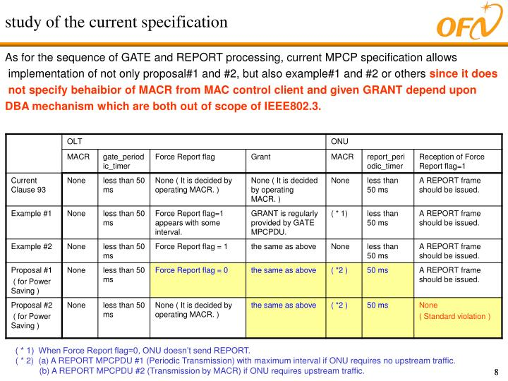 study of the current specification