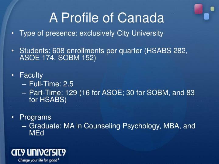 A Profile of Canada