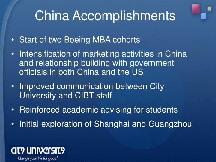 China Accomplishments