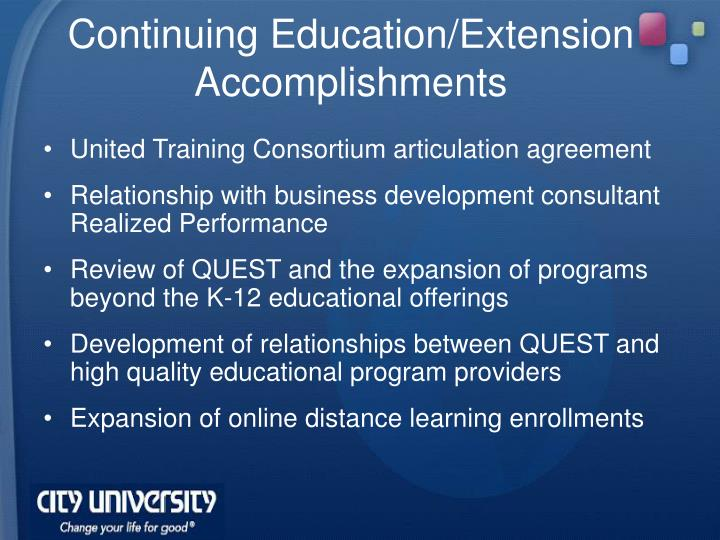 Continuing Education/Extension Accomplishments