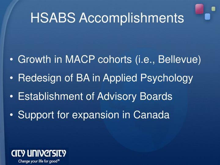 HSABS Accomplishments