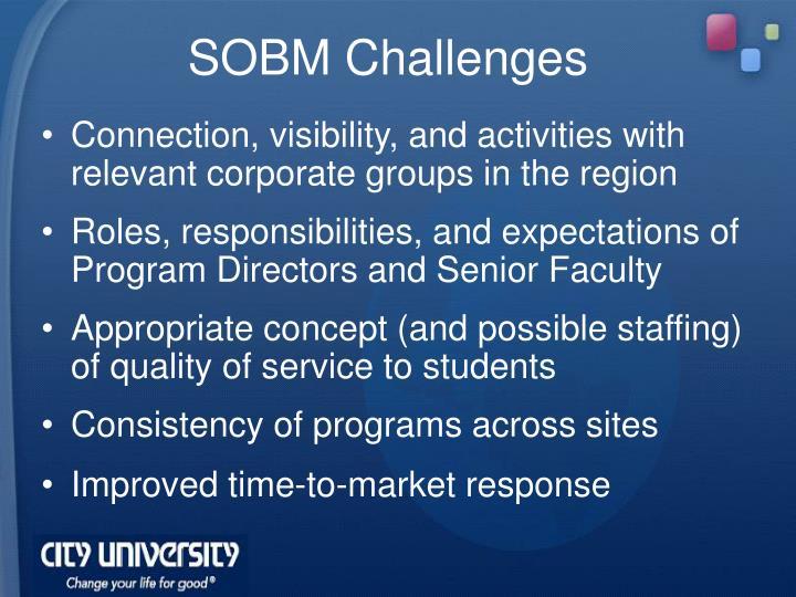 SOBM Challenges