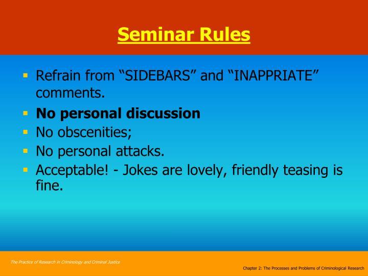 Seminar Rules