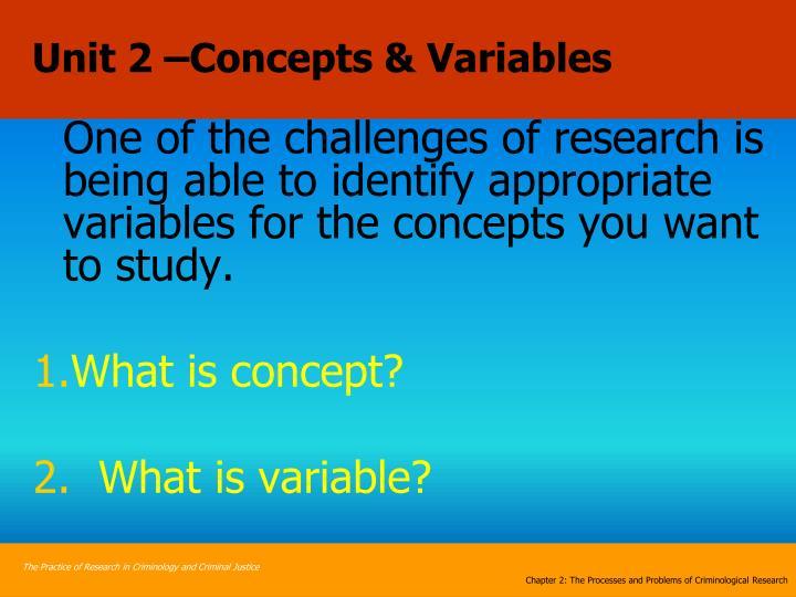 Unit 2 –Concepts & Variables