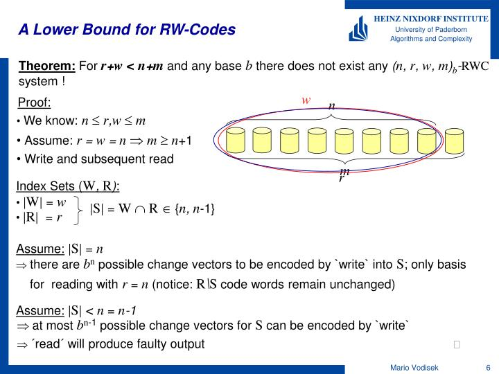 A Lower Bound for RW-Codes