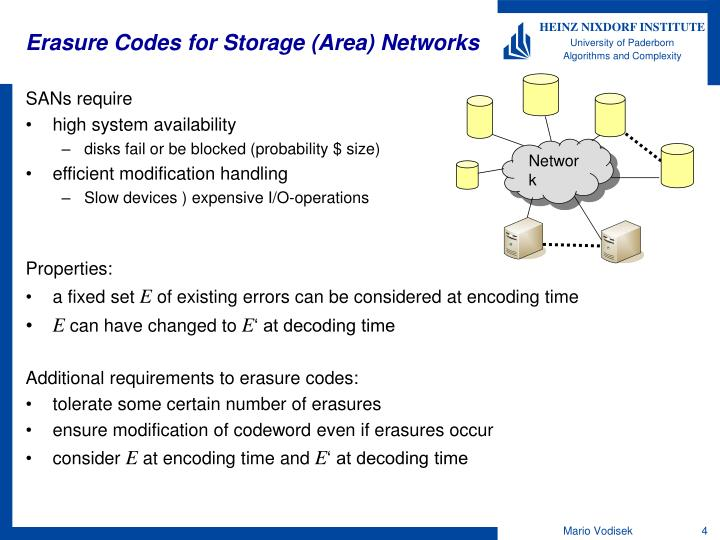 Erasure Codes for Storage (Area) Networks