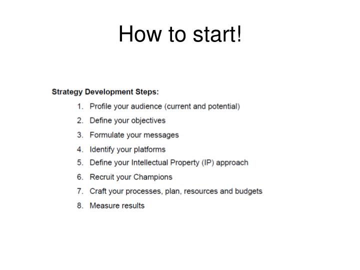 How to start!