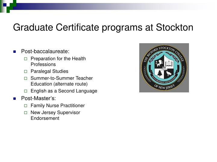 Graduate Certificate programs at Stockton