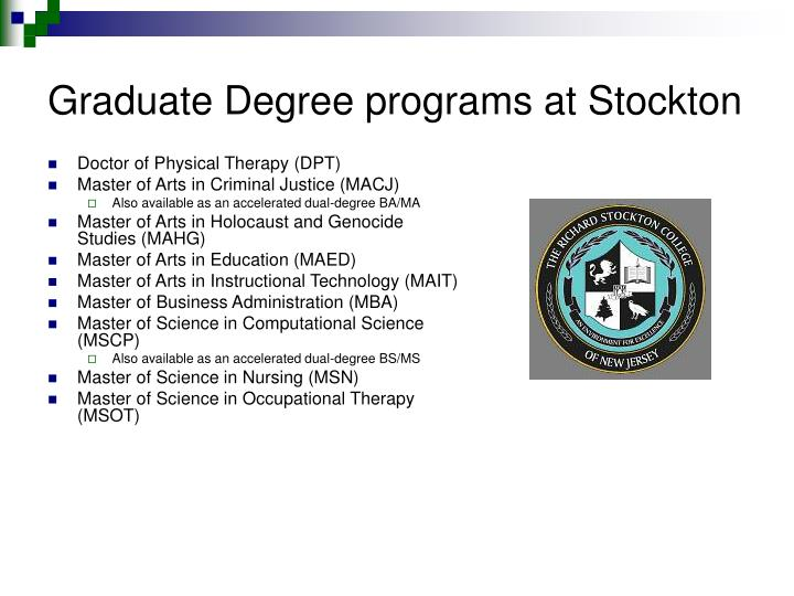 Graduate Degree programs at Stockton
