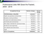 professional jobs will grow the fastest 2004 2014