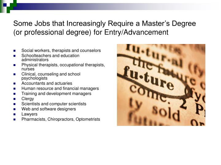 Some Jobs that Increasingly Require a Master's Degree