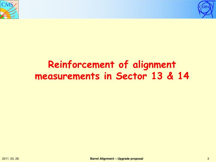 Reinforcement of alignment measurements in sector 13 14