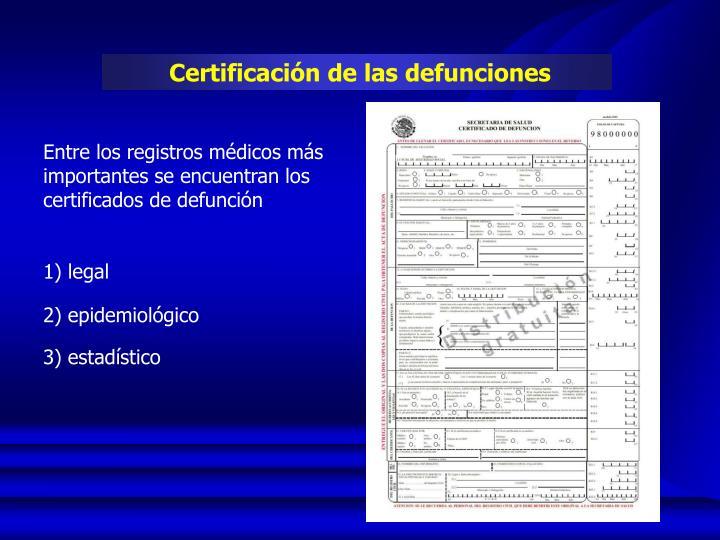Certificación de las defunciones