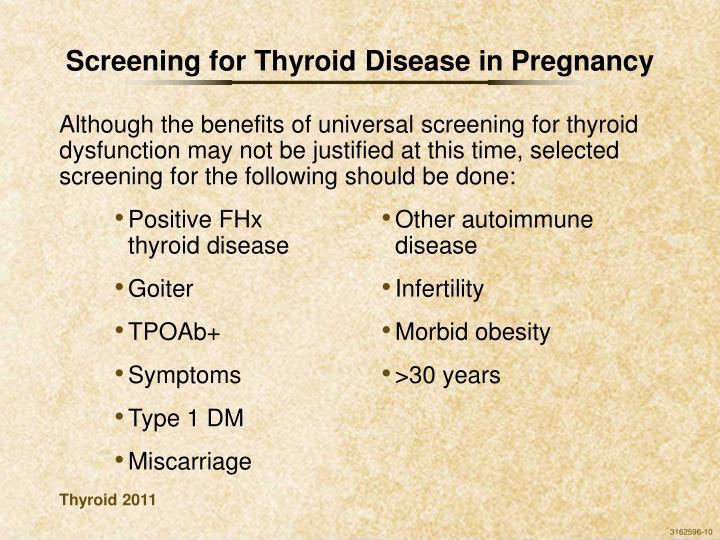 Screening for Thyroid Disease in Pregnancy