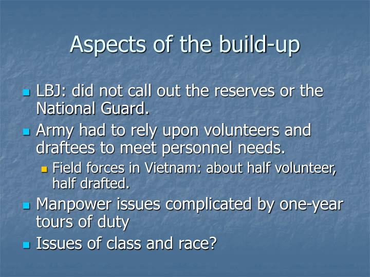 Aspects of the build-up