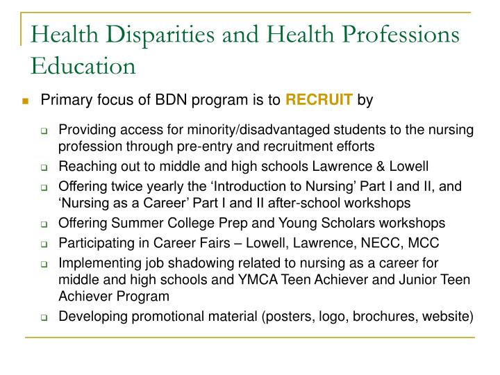 Health Disparities and Health Professions Education