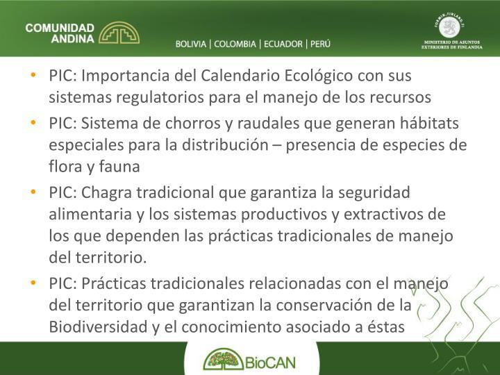 PIC: Importancia del Calendario Ecológico con sus sistemas regulatorios para el manejo de los recursos