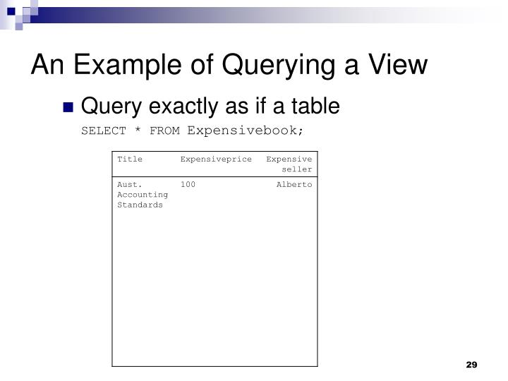 An Example of Querying a View