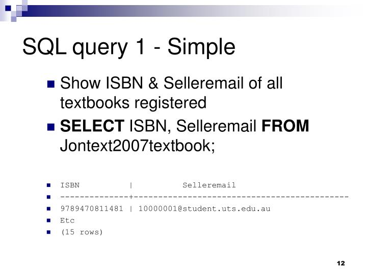 SQL query 1 - Simple