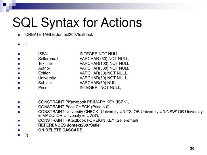 SQL Syntax for Actions