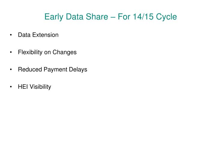 Early Data Share – For 14/15 Cycle