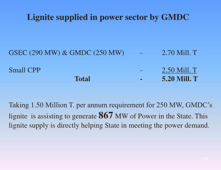 Lignite supplied in power sector by GMDC