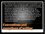 conventions and exceptions of writing