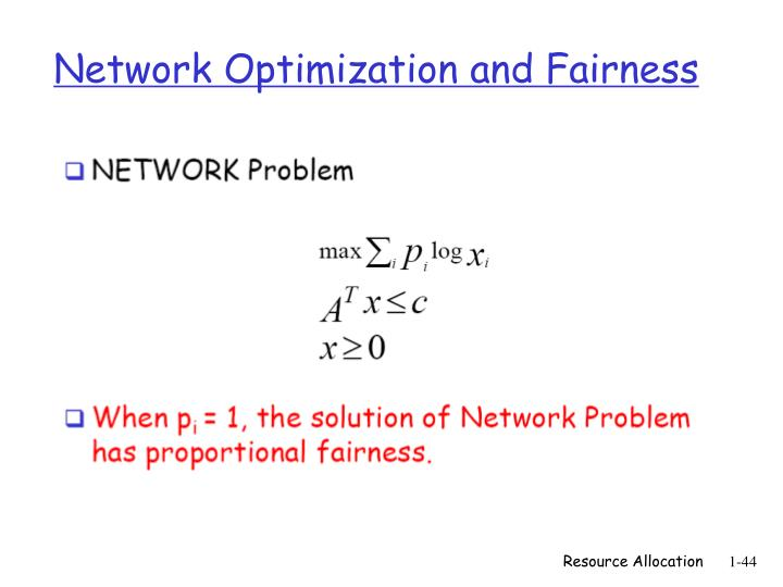 Network Optimization and Fairness