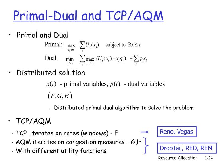 Primal-Dual and TCP/AQM