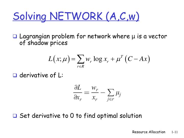 Solving NETWORK (A,C,w)