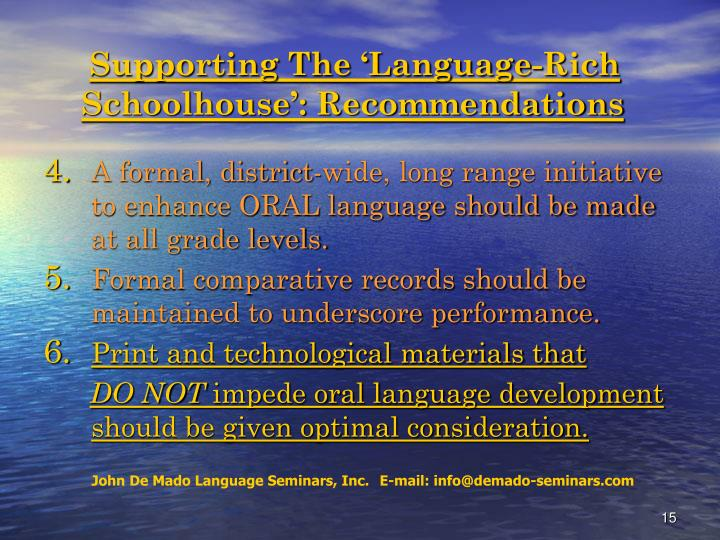 Supporting The 'Language-Rich
