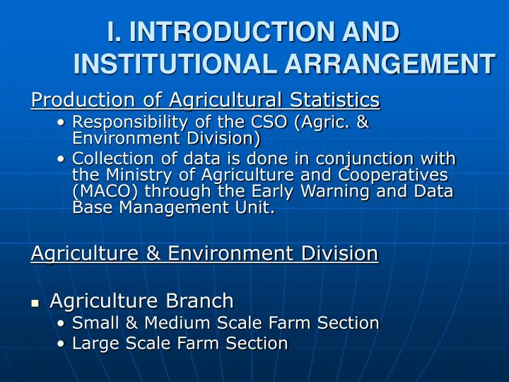 I introduction and institutional arrangement
