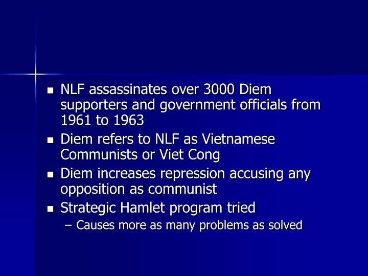 NLF assassinates over 3000 Diem supporters and government officials from 1961 to 1963