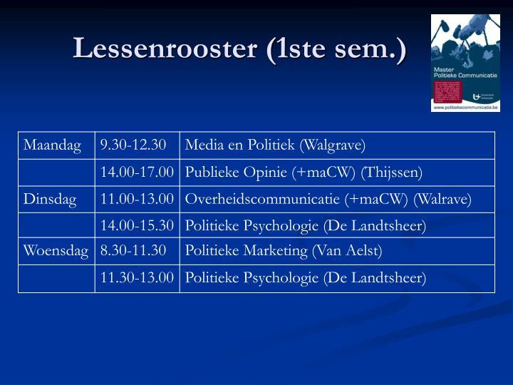 Lessenrooster (1ste sem.)