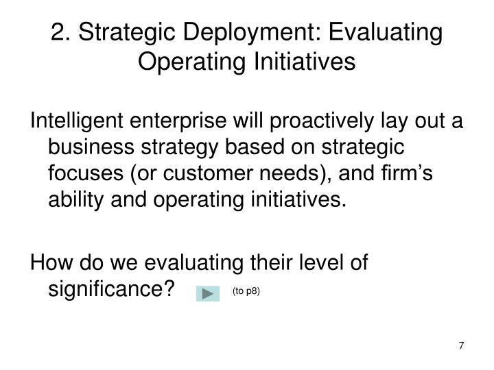 2. Strategic Deployment: Evaluating Operating Initiatives