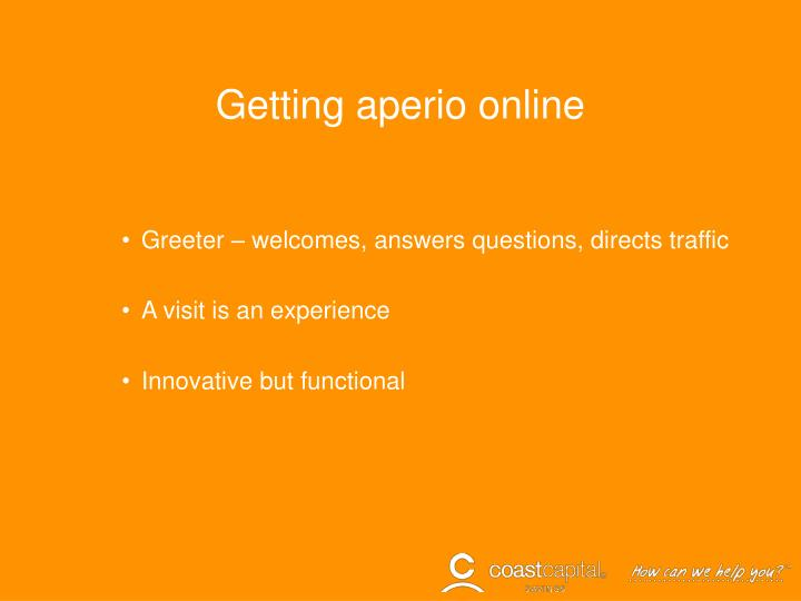 Getting aperio online