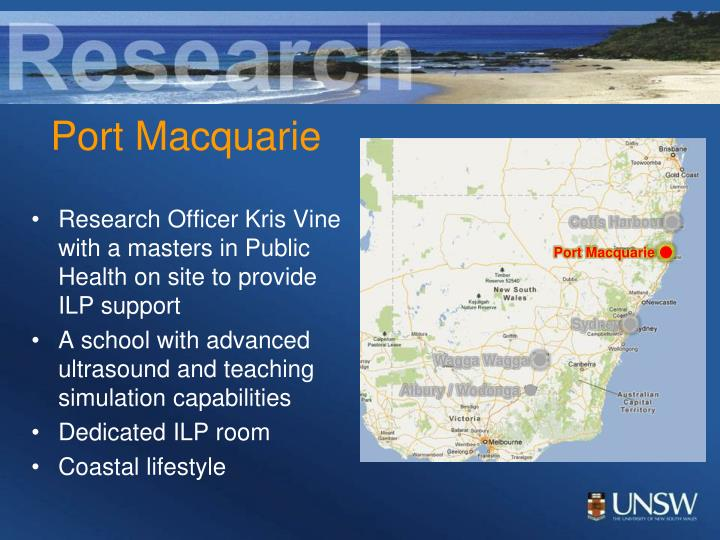 Research Officer Kris Vine with a masters in Public Health on site to provide ILP support